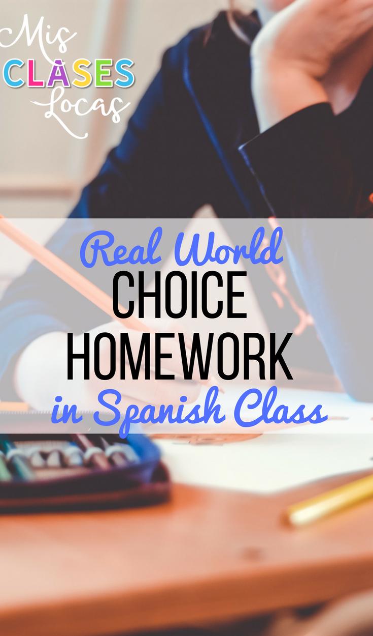 Choice Homework in Spanish Class