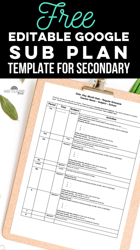 Free Sub Plan template for secondary from Mis Clases Locas