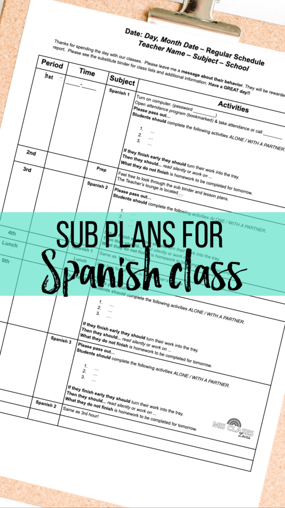 Sub plans for Spanish class shared by Mis Clases Locas