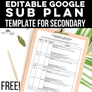 Free Sub Plan template for Spanish class shared by Mis Clases Locas