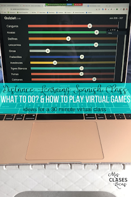 Distance Learning Spanish Class - what to do and how to play virtual games with students - shared by Mis Clases Locas