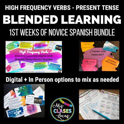How to Start Spanish 1 online with distance learning - high frequency verb unit blended learning BUNDLE - shared by Mis Clases Locas