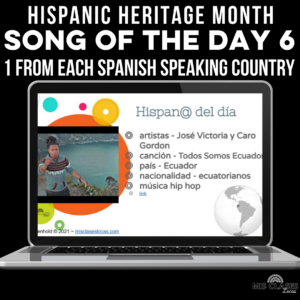 one song from each Spanish speaking country for Hispanic Heritage Month